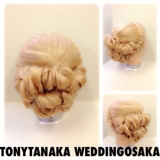 まとめ髪 編み込み 結婚式 ヘアアレンジ ヘアスタイルや髪型の写真・画像