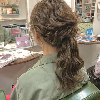 デート 結婚式 ポニーテール フェミニン ヘアスタイルや髪型の写真・画像