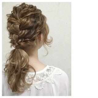 セミロング ショート 編み込み ヘアアレンジ ヘアスタイルや髪型の写真・画像