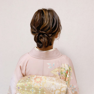 お呼ばれ 着物 結婚式 エレガント ヘアスタイルや髪型の写真・画像