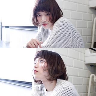 ミルクティー ニュアンス 色気 ボブ ヘアスタイルや髪型の写真・画像