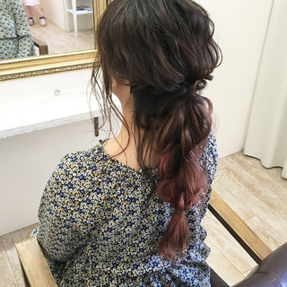 編み込み グラデーションカラー ヘアアレンジ ロング ヘアスタイルや髪型の写真・画像