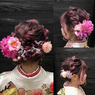 ガーリー ヘアアレンジ 成人式 ヘアアクセ ヘアスタイルや髪型の写真・画像