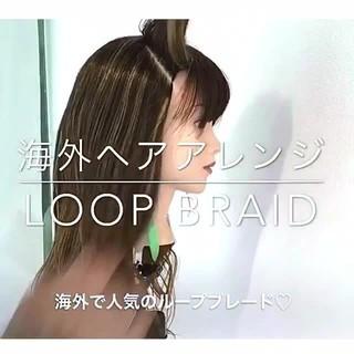 編み込み ルーズ ヘアアレンジ ロング ヘアスタイルや髪型の写真・画像