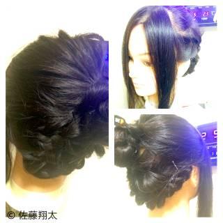 ミディアム 黒髪 ヘアアレンジ アップスタイル ヘアスタイルや髪型の写真・画像