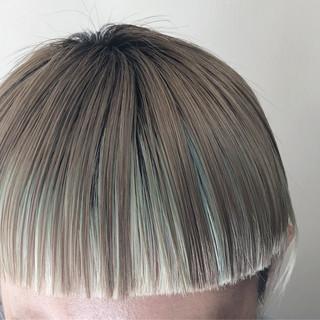 ユニコーンカラー グラデーションカラー バレイヤージュ ボブ ヘアスタイルや髪型の写真・画像