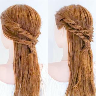 フェミニン ショート くるりんぱ ロング ヘアスタイルや髪型の写真・画像
