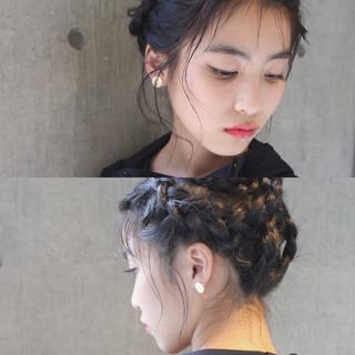 簡単ヘアアレンジ ハーフアップ ゆるふわ ミディアム ヘアスタイルや髪型の写真・画像