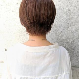 シースルーバング ショートバング ハンサムショート ぱっつん ヘアスタイルや髪型の写真・画像