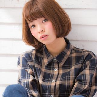 ナチュラル 丸顔 卵型 ボブ ヘアスタイルや髪型の写真・画像