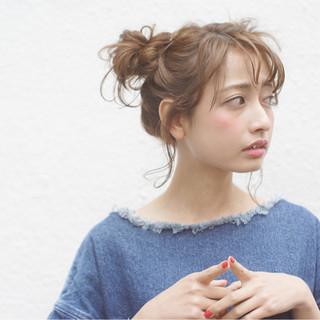 ヘアアレンジ ショート ガーリー ミディアム ヘアスタイルや髪型の写真・画像