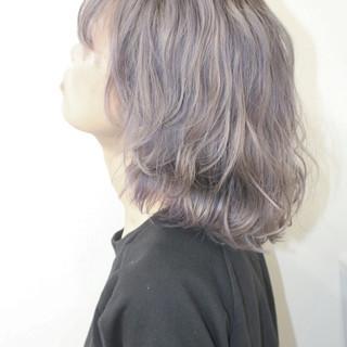 ハイライト パープル モード 外国人風 ヘアスタイルや髪型の写真・画像
