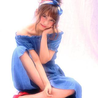 大人かわいい バンダナ 簡単ヘアアレンジ 夏 ヘアスタイルや髪型の写真・画像