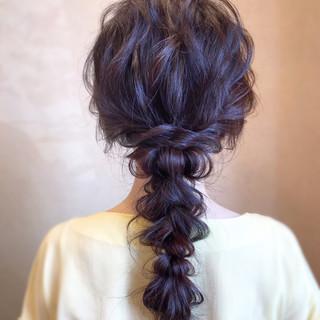 エレガント ヘアアレンジ 大人カジュアル 編みおろし ヘアスタイルや髪型の写真・画像