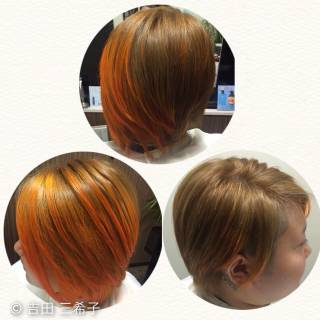 アシメバング ストリート オレンジ ダブルカラー ヘアスタイルや髪型の写真・画像