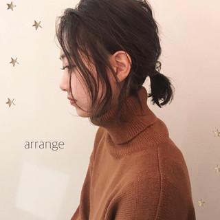 ヘアアレンジ ボブ 切りっぱなし ナチュラル ヘアスタイルや髪型の写真・画像
