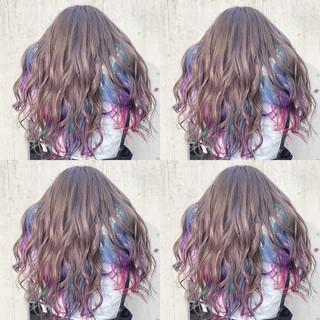 インナーカラー ハイトーン ストリート ヘアカラー ヘアスタイルや髪型の写真・画像