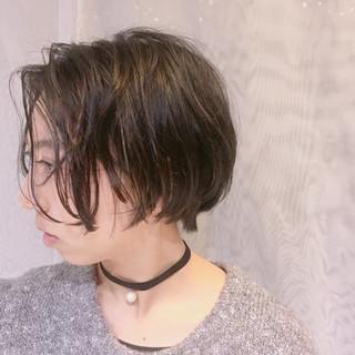ボブ ニュアンス 黒髪 ショート ヘアスタイルや髪型の写真・画像
