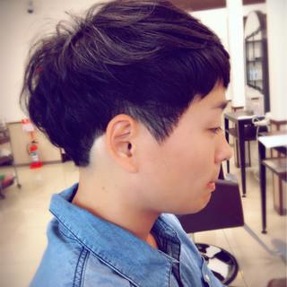 ショート 黒髪 暗髪 パーマ ヘアスタイルや髪型の写真・画像 ヘアスタイルや髪型の写真・画像