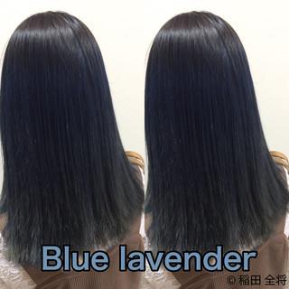 ブルー ブルーラベンダー セミロング ネイビーカラー ヘアスタイルや髪型の写真・画像