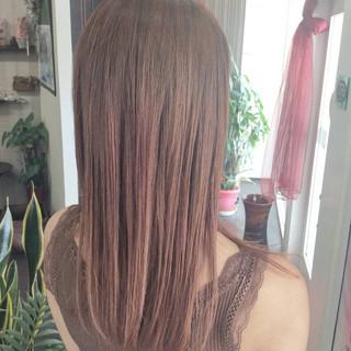 ナチュラル ミディアム ヘアカラー ピンクカラー ヘアスタイルや髪型の写真・画像