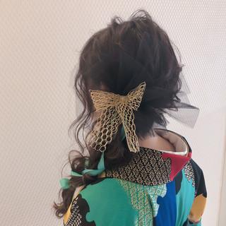 セミロング 結婚式ヘアアレンジ ヘアセット 成人式ヘア ヘアスタイルや髪型の写真・画像