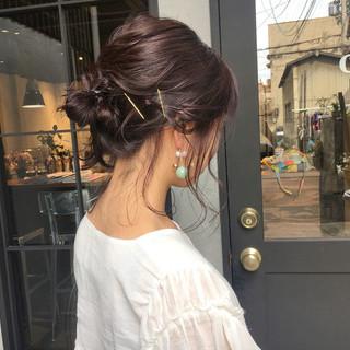 パープル 簡単ヘアアレンジ デート バイオレットアッシュ ヘアスタイルや髪型の写真・画像