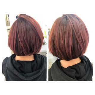 レッド ピンク 艶髪 ボブ ヘアスタイルや髪型の写真・画像