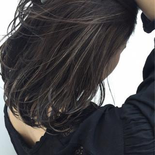 ロブ ハイライト ボブ ナチュラル ヘアスタイルや髪型の写真・画像