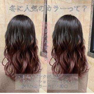 ナチュラル デート セミロング ピンク ヘアスタイルや髪型の写真・画像