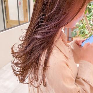 切りっぱなしボブ 透明感カラー インナーカラー セミロング ヘアスタイルや髪型の写真・画像