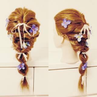 三つ編み くるりんぱ ヘアアレンジ セミロング ヘアスタイルや髪型の写真・画像