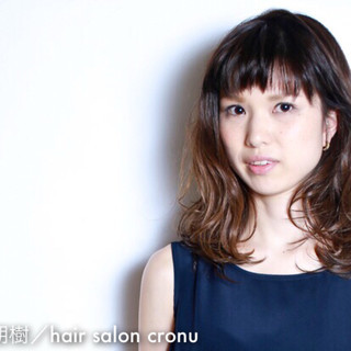 暗髪 パーマ グラデーションカラー ナチュラル ヘアスタイルや髪型の写真・画像