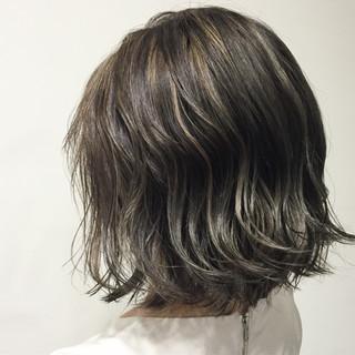 ボブ ハイライト グラデーションカラー 外国人風 ヘアスタイルや髪型の写真・画像