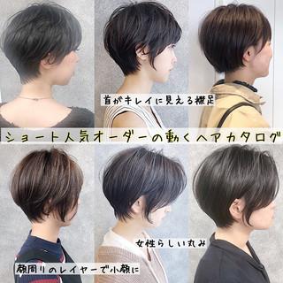 ショートボブ 縮毛矯正 簡単ヘアアレンジ ストレート ヘアスタイルや髪型の写真・画像
