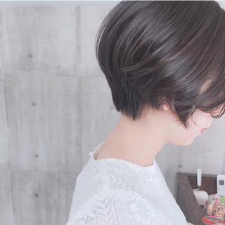 ショート グレージュ ナチュラル ショートヘア ヘアスタイルや髪型の写真・画像