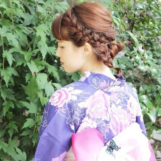 ヘアアレンジ 夏 ヘアピン お祭り ヘアスタイルや髪型の写真・画像