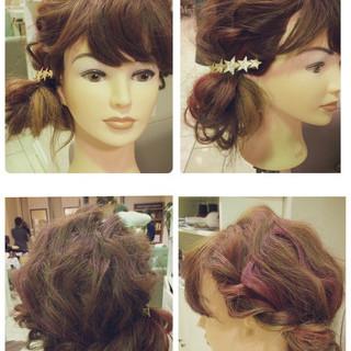 簡単ヘアアレンジ ルーズ お団子 ショート ヘアスタイルや髪型の写真・画像