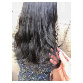 ネイビー ハイライト セミロング ブルー ヘアスタイルや髪型の写真・画像 ヘアスタイルや髪型の写真・画像