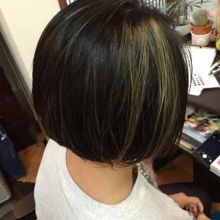 黒髪 ボブ 外国人風 インナーカラー ヘアスタイルや髪型の写真・画像