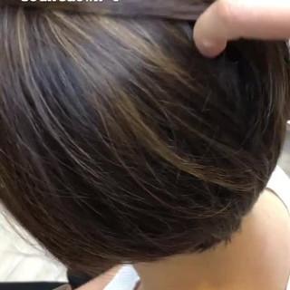 大人ハイライト ハイライト ブリーチカラー ショートボブ ヘアスタイルや髪型の写真・画像