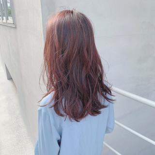ピンクブラウン ピンクベージュ セミロング ピンク ヘアスタイルや髪型の写真・画像
