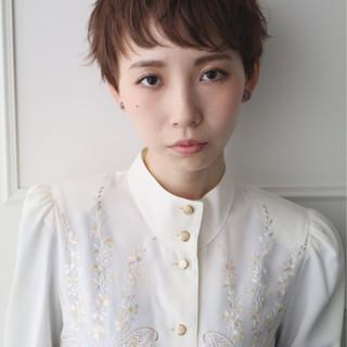 ベリーショート 似合わせ ミルクティー 小顔 ヘアスタイルや髪型の写真・画像