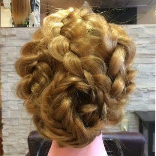 編み込み 和装 外国人風 ヘアアレンジ ヘアスタイルや髪型の写真・画像