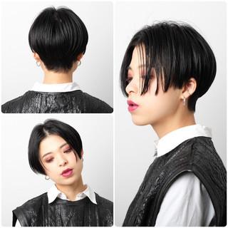 似合わせカット センターパート ショート モード ヘアスタイルや髪型の写真・画像