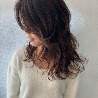 エレガント うぶ毛ハイライト 大人ハイライト ロング ヘアスタイルや髪型の写真・画像