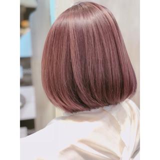 ラベンダーピンク グレージュ ボブ 大人かわいい ヘアスタイルや髪型の写真・画像