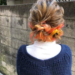 インナーカラー ヘアアレンジ ガーリー デート ヘアスタイルや髪型の写真・画像