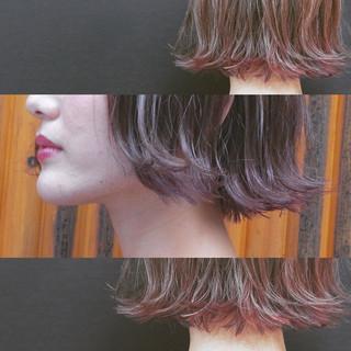 ベージュ ラベンダーピンク 外国人風 ボブ ヘアスタイルや髪型の写真・画像