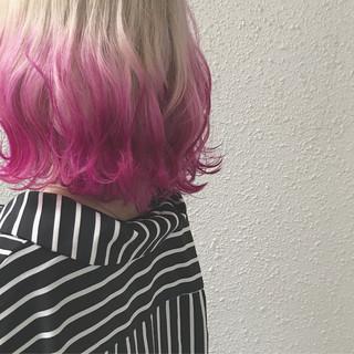 ボブ カラーバター ストリート ダブルカラー ヘアスタイルや髪型の写真・画像
